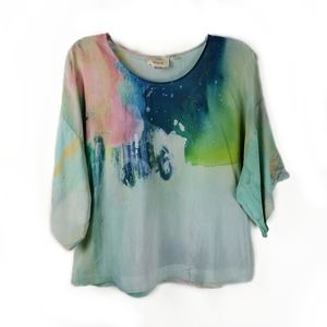 Anthropologie Claire Desjardins Aquarelle silk top